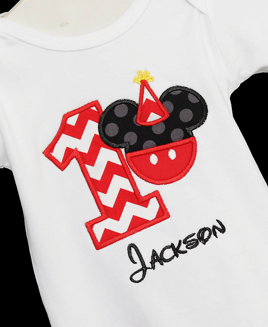 Any Infant Toddler Boys 1st First Birthday Mickey Mouse Personalized 1 Shirt Custom
