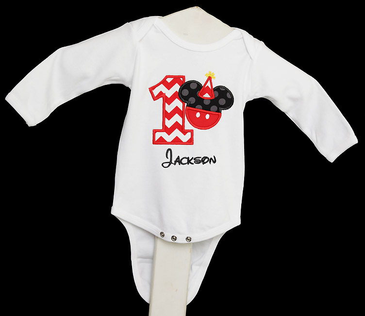 Infant/Toddler Boys 1st First Birthday Mickey Mouse Personalized 1 Shirt, Custom, Any Age, Long or Short Sleeves