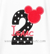 Boys Mickey Mouse Birthday Shirt Personalized with Age and Name