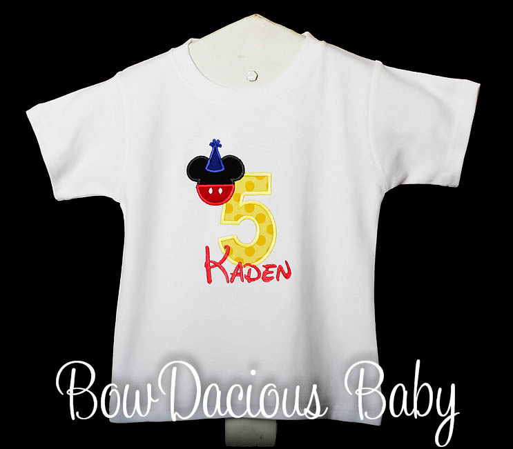 Boys Mickey Mouse Yellow Number Birthday Shirt Or Onesie (More Color Options) With Pants and Party Hat, Shirt or Onesie, Custom Colors