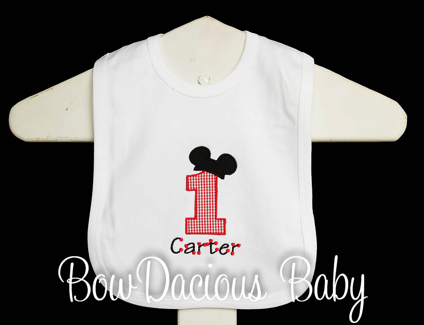 Mickey 1st Birthday Bib, Custom, Any Color Scheme