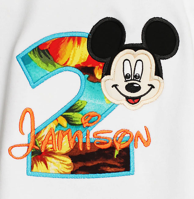 Personalized Mickey Mouse Face Birthday Shirt, Disney Custom Applique, Shirt or Onesie, Any Age
