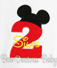 Personalized Mickey Mouse Birthday Number Shirt, Boys Mickey Mouse Clubhouse Birthday Shirt, Custom Fabrics, Girls Birthday Shirt, Custom