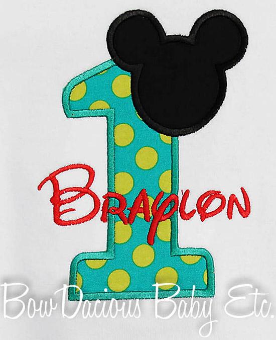 1st Birthday Mickey Boy Shirt Disney Font Applique Personalized