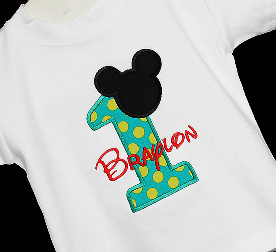 1st Birthday Mickey Boy Shirt Disney Font Applique Personalized