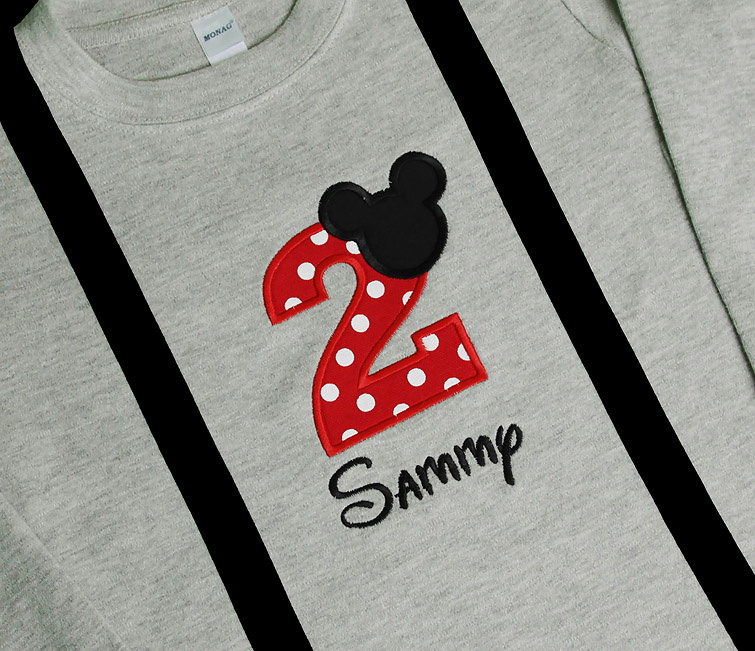 Mickey Mouse Birthday Shirt with Suspenders, Custom Colors, Any Age, Shirt or Onesie