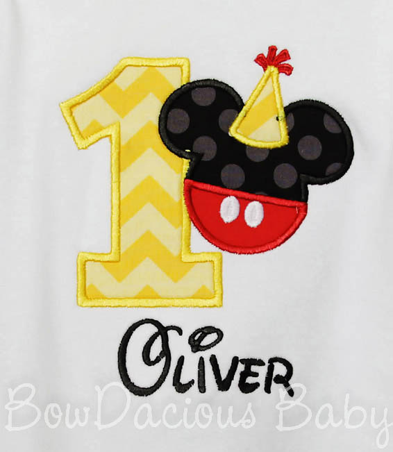 Birthday Hat and T-shirt, Personalized Mickey Mouse in Red, Yellow, Black, White, Mickey Mouse Clubhouse, Custom, Any Age, Shirt or Onesie