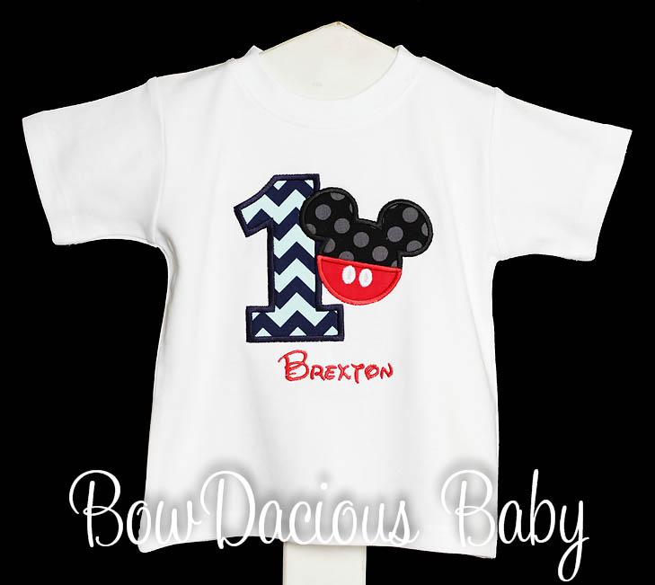 Mickey Mouse Birthday Shirt, Mickey with Pants Birthday Shirt or Onesie, Appliqued Mickey Shirt - 1st Birthday Shirt