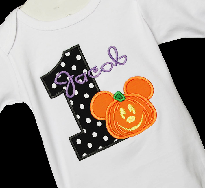 Pumpkin Mickey Mouse Birthday Shirt or Onesie, Custom, Any Age, Mickey's Not So Scary Halloween Party Birthday Shirt