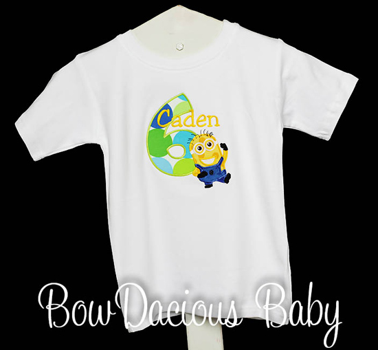 Personalized Despicable Me Minions Birthday Kids Shirt or Onesie