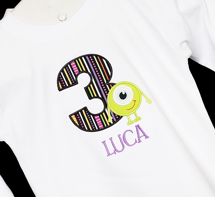 Monsters Inc - Monsters University Applique Birthday Shirt or Bodysuit/Onesie, Custom Fabrics, Any Age
