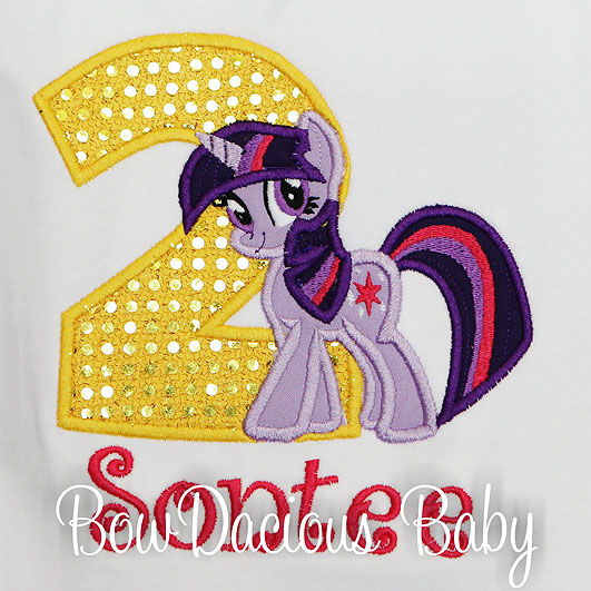 My Little Pony Twilight Sparkle Birthday Shirt or Onesie, Custom, Any Age