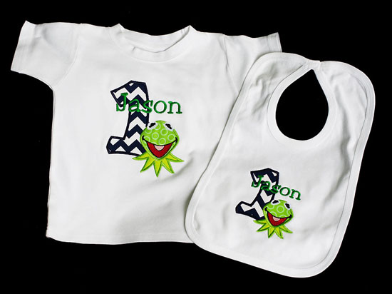 Kermit 1st Birthday Outfit, Custom Shirt and Bib, Any Age