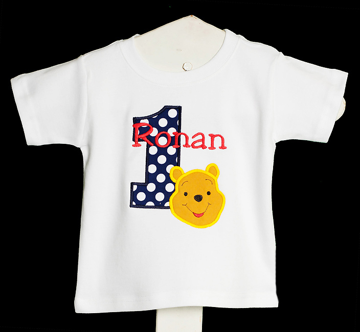 Boy's Custom Winnie the Pooh Birthday Shirt or Onesie, Long or Short Sleeves, Any Age, You Pick the Colors