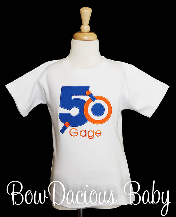 Nerf Birthday Shirt, Custom, Personalized, Any Age, Any Colors