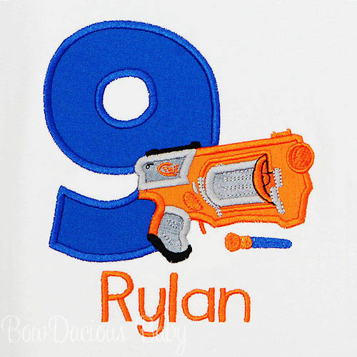 Nerf Birthday Shirt, Nerf Gun Birthday Shirt, Custom, Personalized, Any Age, Any Colors