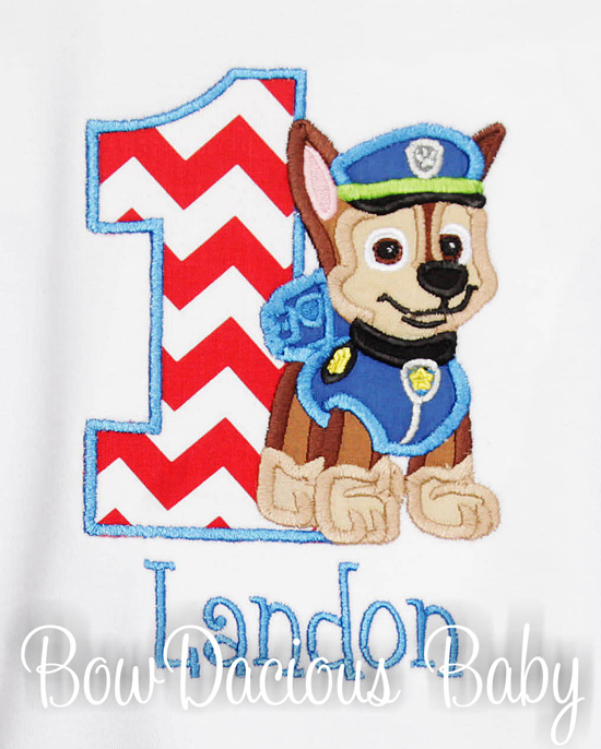 Paw Patrol Chase Birthday Shirt or Onesie, Custom, Any Age