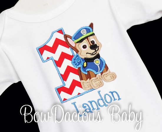 Paw Patrol Chase Birthday Shirt Or Onesie Custom