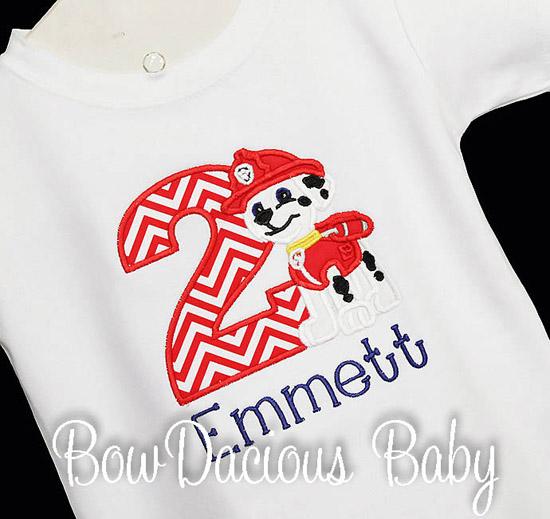 Paw Patrol Marshall Custom Birthday Shirt or Onesie, Applique Embroidery