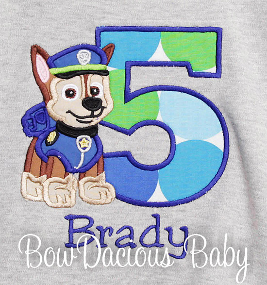 Boys Chase Paw Patrol Custom Birthday Shirt Or Onesie
