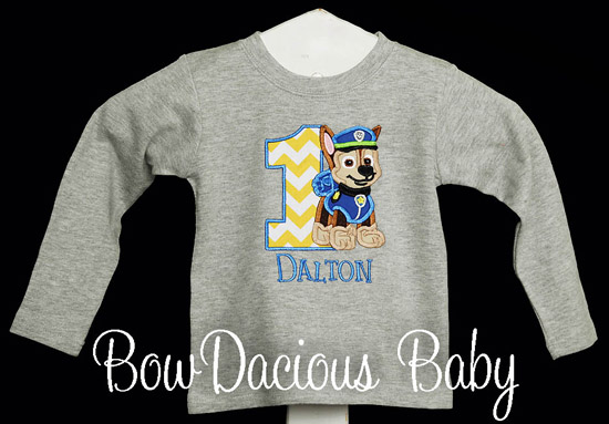 boys gray paw patrol birthday shirt