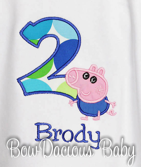 Peppa George Birthday Custom Tee Shirt,Customizable, Onesie, Any Age
