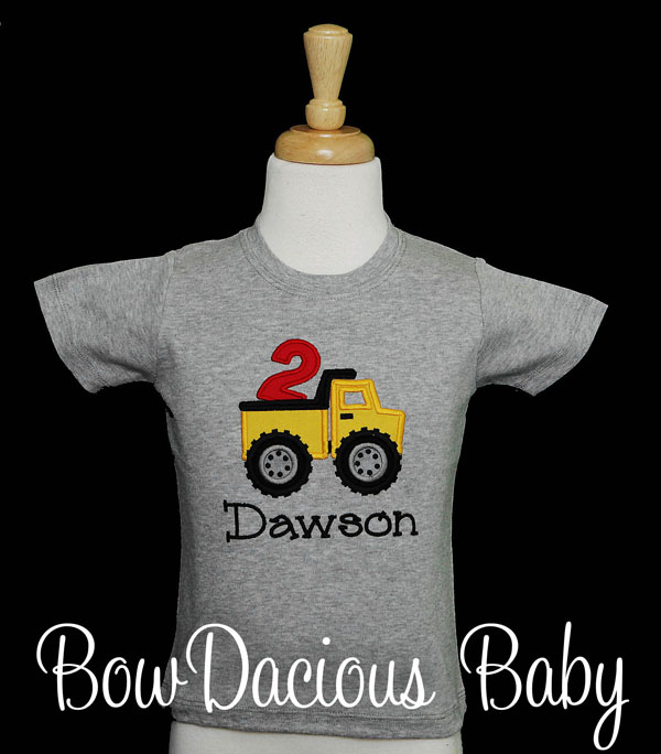 Dump Truck Birthday Shirt, Personalized Construction Birthday Shirt, Any Age and Name, You Pick the Colors