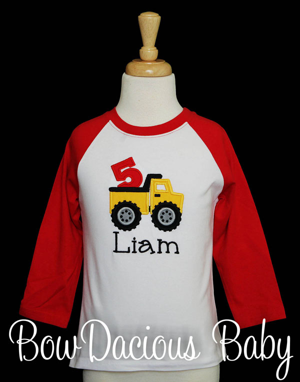 Personalized Dump Truck Birthday Shirt, Custom, Any Age