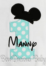 Infant/Toddler Boys 1st First Birthday Mickey Mouse Personalized 1 Shirt BLACK 12m 18m 24m