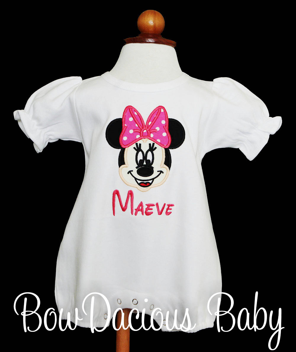 Personalized Girls Minnie Mouse Romper, Any Colors