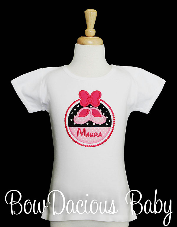Girls Minnie Mouse Shirt, Personalized, Minnie's Shoes and Bow, Custom