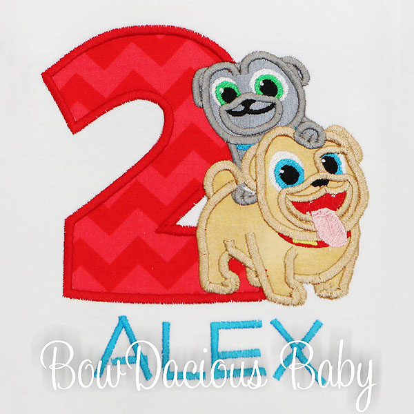 Personalized Puppy Dog Pals Birthday Shirt, Custom, Any Age, Appliqued, Embroidered