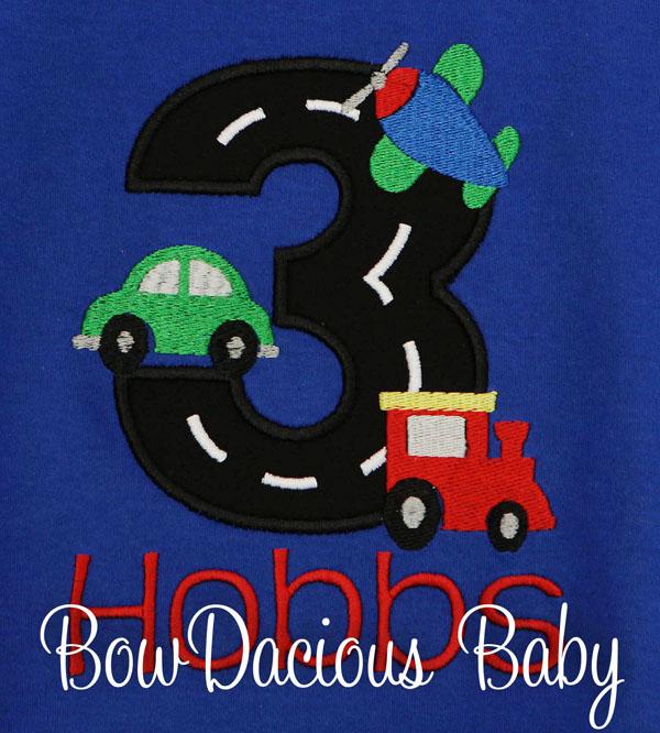 Custom Personalized Transportation Birthday Shirt, Any Age, Any Colors