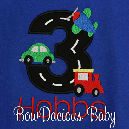 Custom Personalized Transportation Birthday Shirt, Any Age, Any Colors