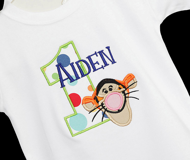 Custom Made to order Personalized Winnie the Pooh Birthday Number with Tigger Shirt available in sizes 6 month to Adult XL