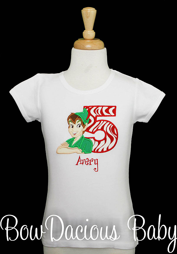 Girl's Peter Pan Birthday Shirt, Custom, Any Age, Personalized