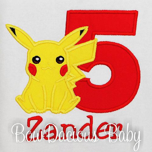 Pokemon Birthday Shirt, Pikachu, Personalized, Embroidered, Any Age