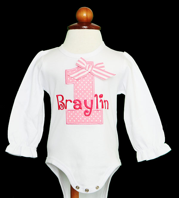 Girl's Pink Number Birthday Shirt, Personalized Girls Birthday Shirt with Pink Age and Name Tee or Infant Onesie for Kids, CUSTOM, AGE AGE/COLORS