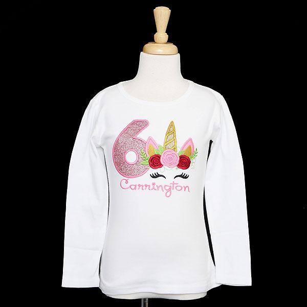 Girls Unicorn Birthday Shirt, Custom