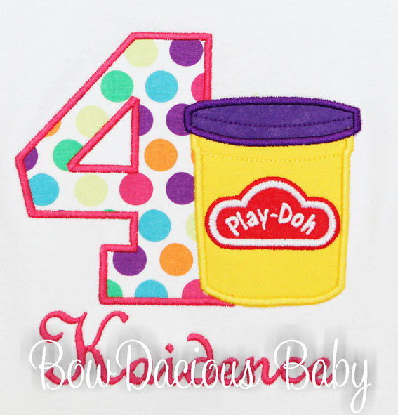 Personalized Play-Doh Number Birthday Shirt or Onesie, Custom, Any Age, Any Colors, Girls or Boys