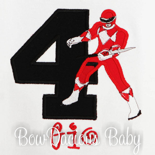 Power Ranger Birthday Shirt or Onesie, Custom, Any Age, Any Colors/Power Ranger