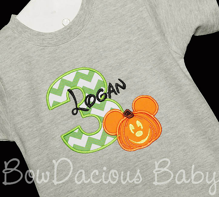 Pumpkin Mickey Mouse Birthday Shirt or Onesie, Custom, Any Age