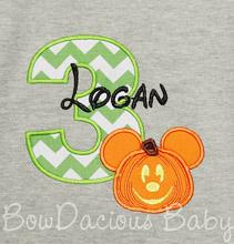 Pumpkin Mickey Mouse Birthday Shirt or Onesie, Custom, Any Age