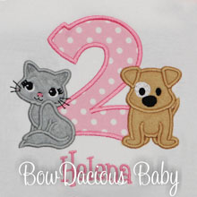Puppy and Kitty PAWTY Birthday Shirt for Girls, Birthday Top, Any Age, Any Colors