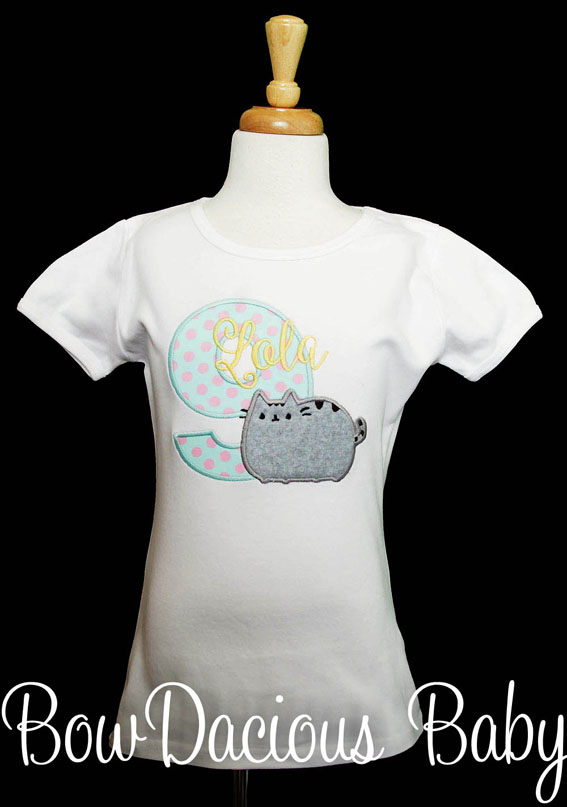 Pusheen Birthday Shirt or Onesie, Custom, Any Age, Any Colors