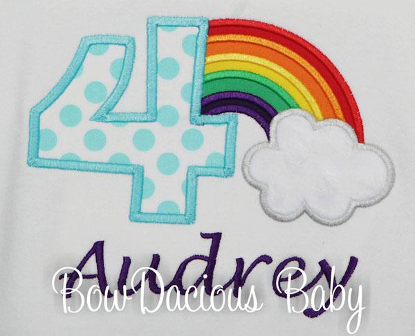 Girls Rainbow Shirt, Rainbow Birthday Shirt, Personalized Rainbow Shirt or Onesie, Any Age
