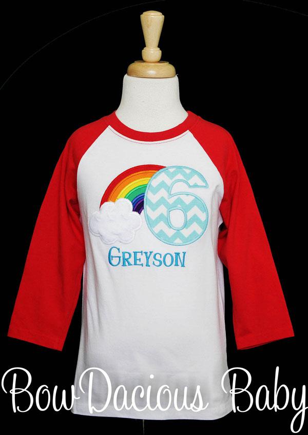 Rainbow Birthday Shirt for Girls Custom