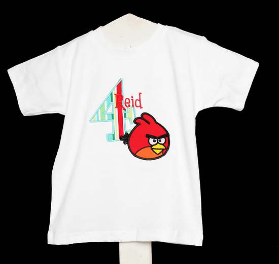 Red Angry Birds Birthday Shirt or Onesie, Custom, Any Age