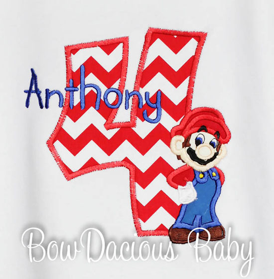 Mario Brothers Custom Number Shirt Applique Birthday