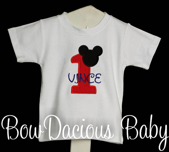 Boys Birthday Mickey Mouse Red Number Quick Ship Top, Custom, Shirt or Onesie, Any Age